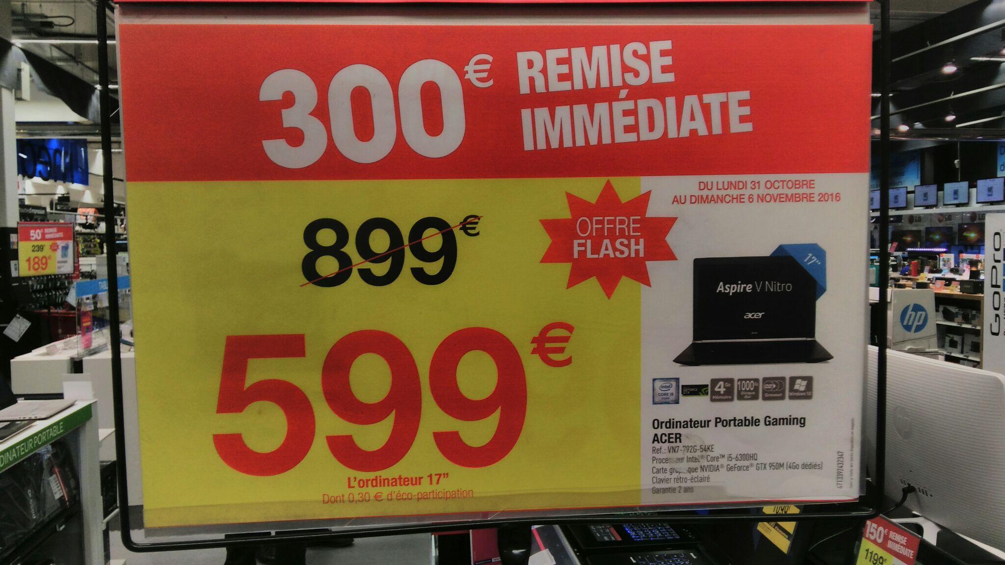 """PC Portable 17"""" Acer V17 Nitro VN7-792G-54KE - IPS Full HD, i5-6300HQ, RAM 4Go, 1To,  950M 4Go"""