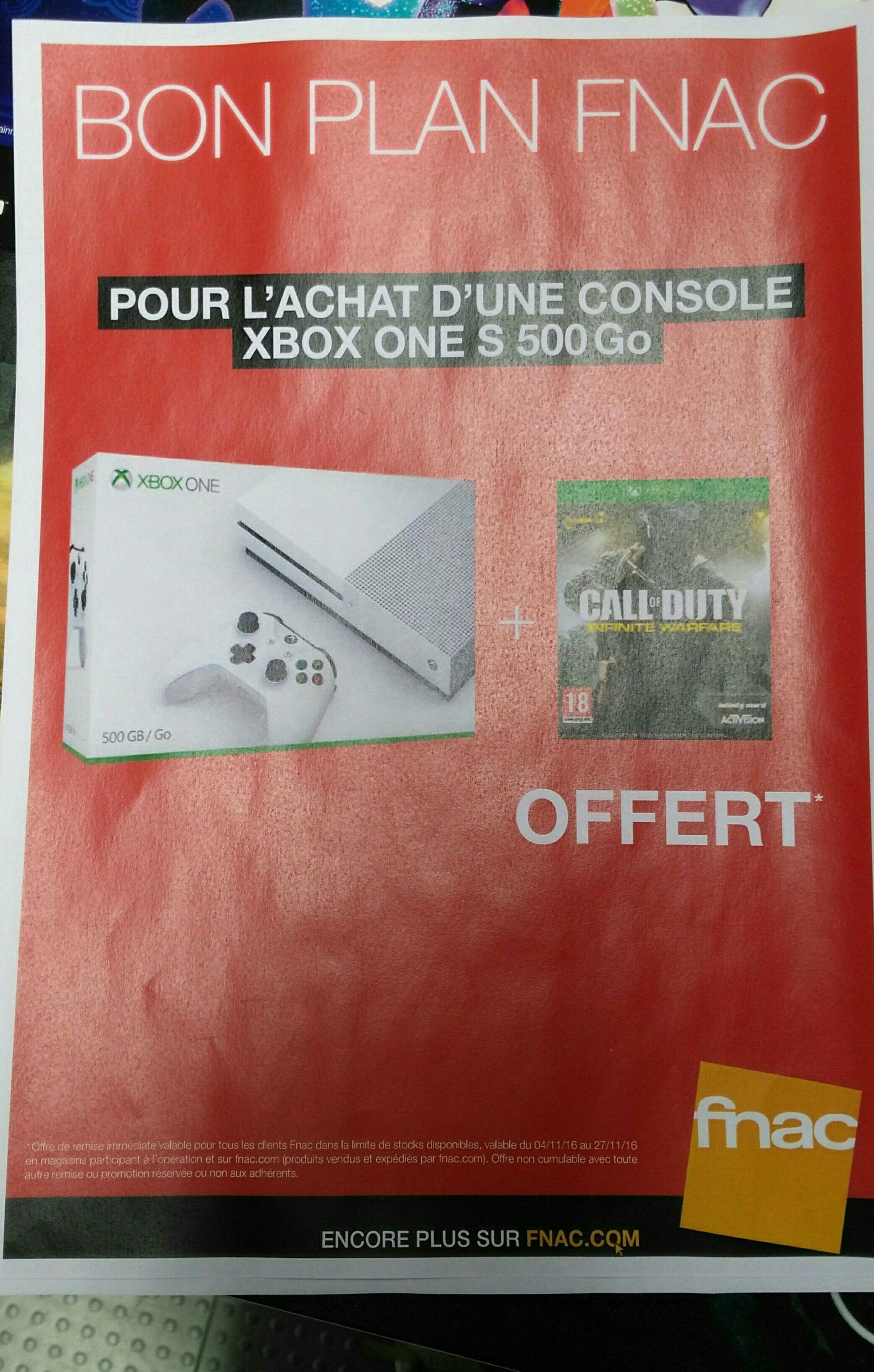 Console Microsoft Xbox One S 500 Go + Call Of Duty Infinite Warfare