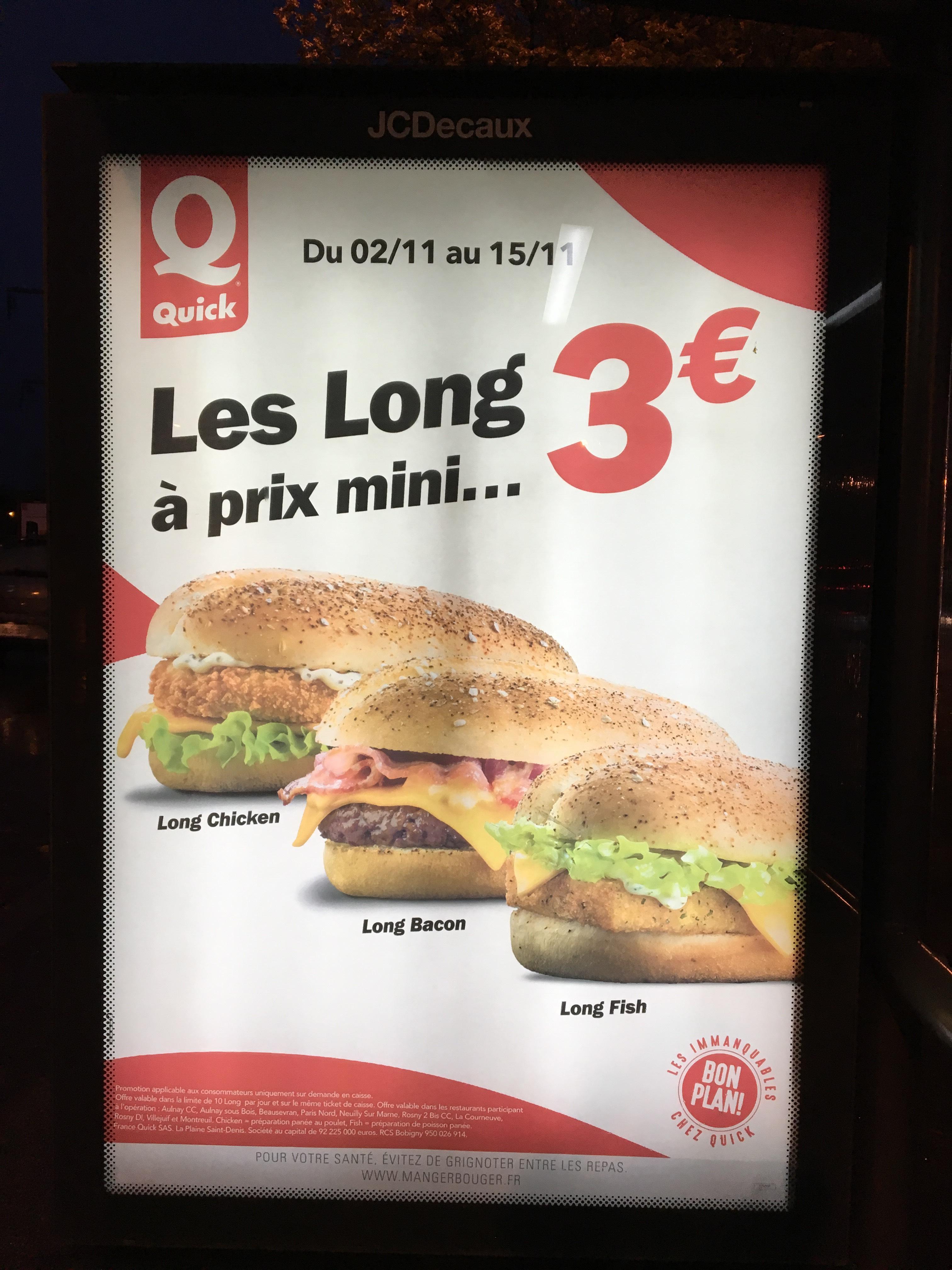 Les hamburgers Long chicken, Bacon et Fish