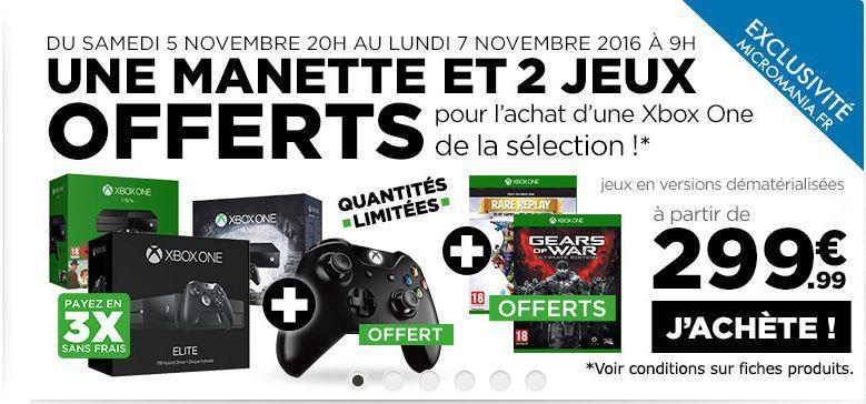 une 2ème manette + Gears of War Ultimate Edition et Rare Replay (Dématérialisé) offerts pour tout achat d'un pack Xbox One de la sélection