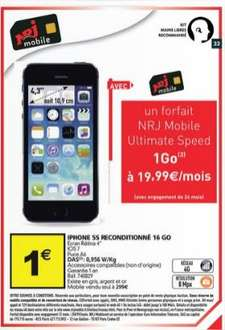 "Smartphone 4.3"" Apple iPhone 5s 16 Go (Reconditionné) + Forfait 1an NRJ Mobile Ultimate Speed 1 Go"