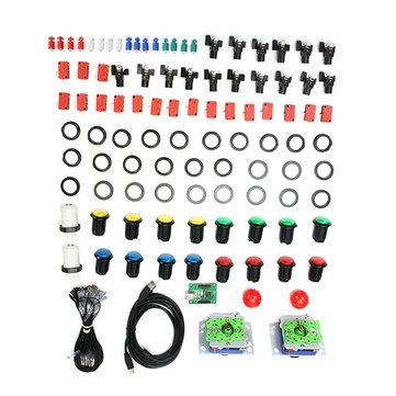 Kit 2 joysticks USB complet incluant 16 boutons LED + 2 boutons joueurs, connectiques et convertisseur