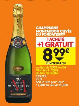 2 Bouteilles de Champagne Brut Montaudon Cuvée du Fondateur - 2x75cl