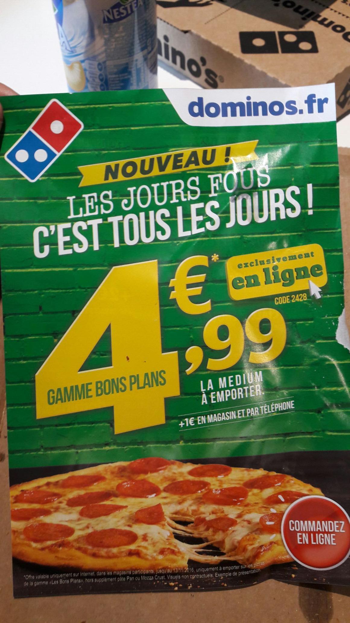 Pizza dominos medium à emporter