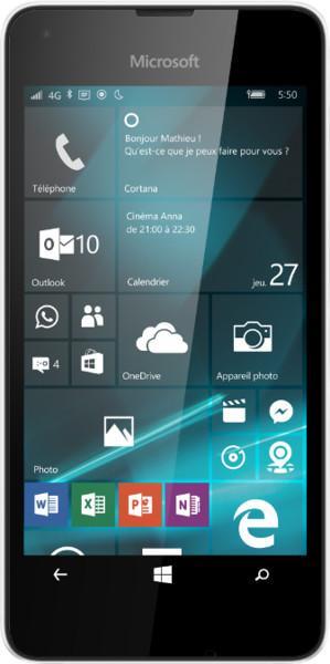 """Smartphone 4.7"""" Microsoft Nokia Lumia 550 - HD, Ram 1Go, 8Go, 4G (B20), Blanc"""