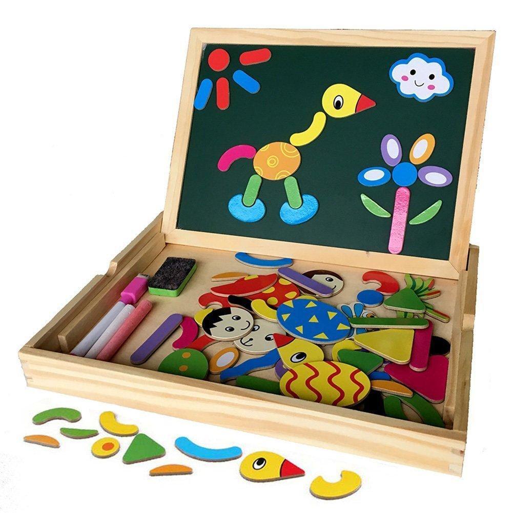 Jouet éducatif en Bois - Planche Magnétique à Dessins + Boîte Puzzle Blocs