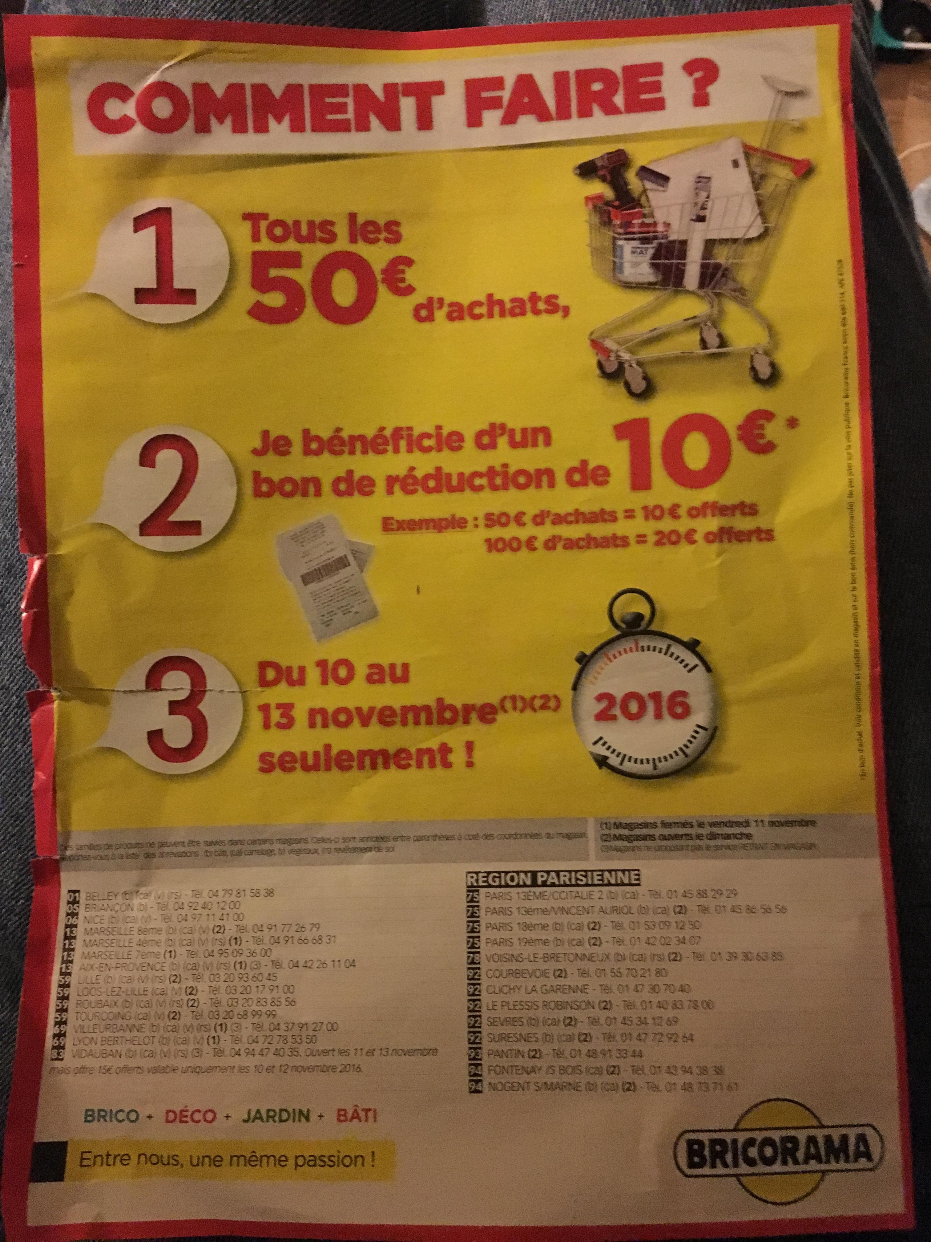 10€ offerts en bon d'achat par tranche de 50€