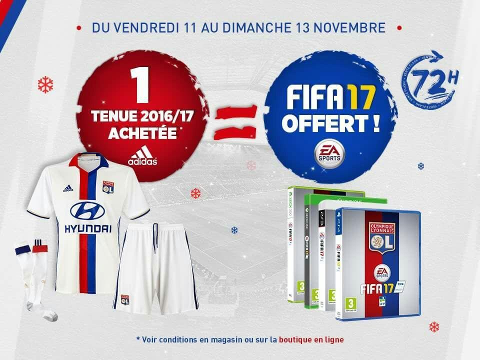 1 tenue de football de l'Olympique Lyonnais achetée = FIFA 17 - Édition O.L. offert (PS4 ou Xbox One)