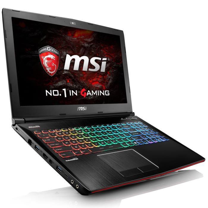 "PC portable 15.6"" full HD MSI GE62VR 6RF-037xfr (i5-6300HQ, GTX 1060 6Go, 8 Go de RAM, 1 To, sans OS) + 128 Go en SSD M2SATA offert"