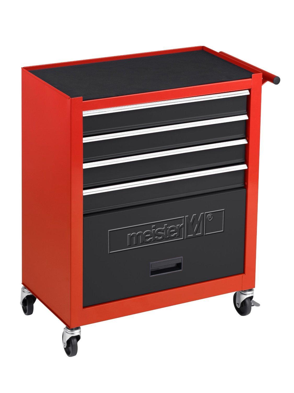 Servante d'atelier Meister 8986100 Rouge / Noir en Métal - Vide,  616 x 742 x 330 mm