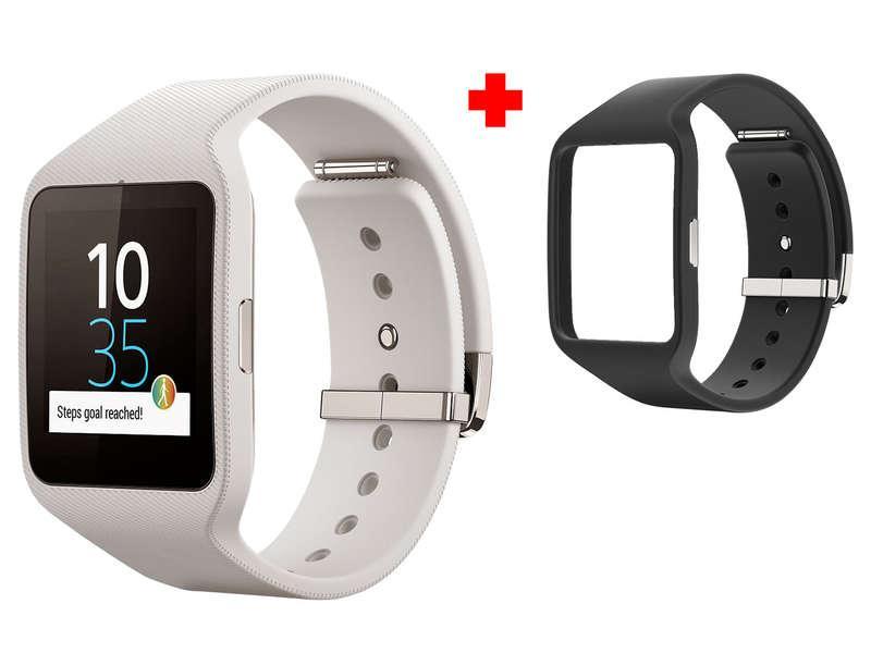 Montre connectée Sony SmartWatch 3 SWR50 (blanc) + bracelet noir (via ODR de 50€)