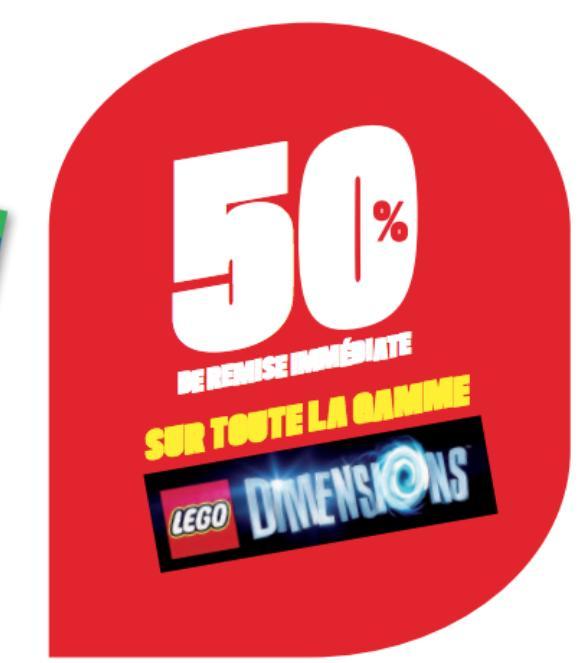 50% de remise immédiate sur les jouets Lego Dimensions