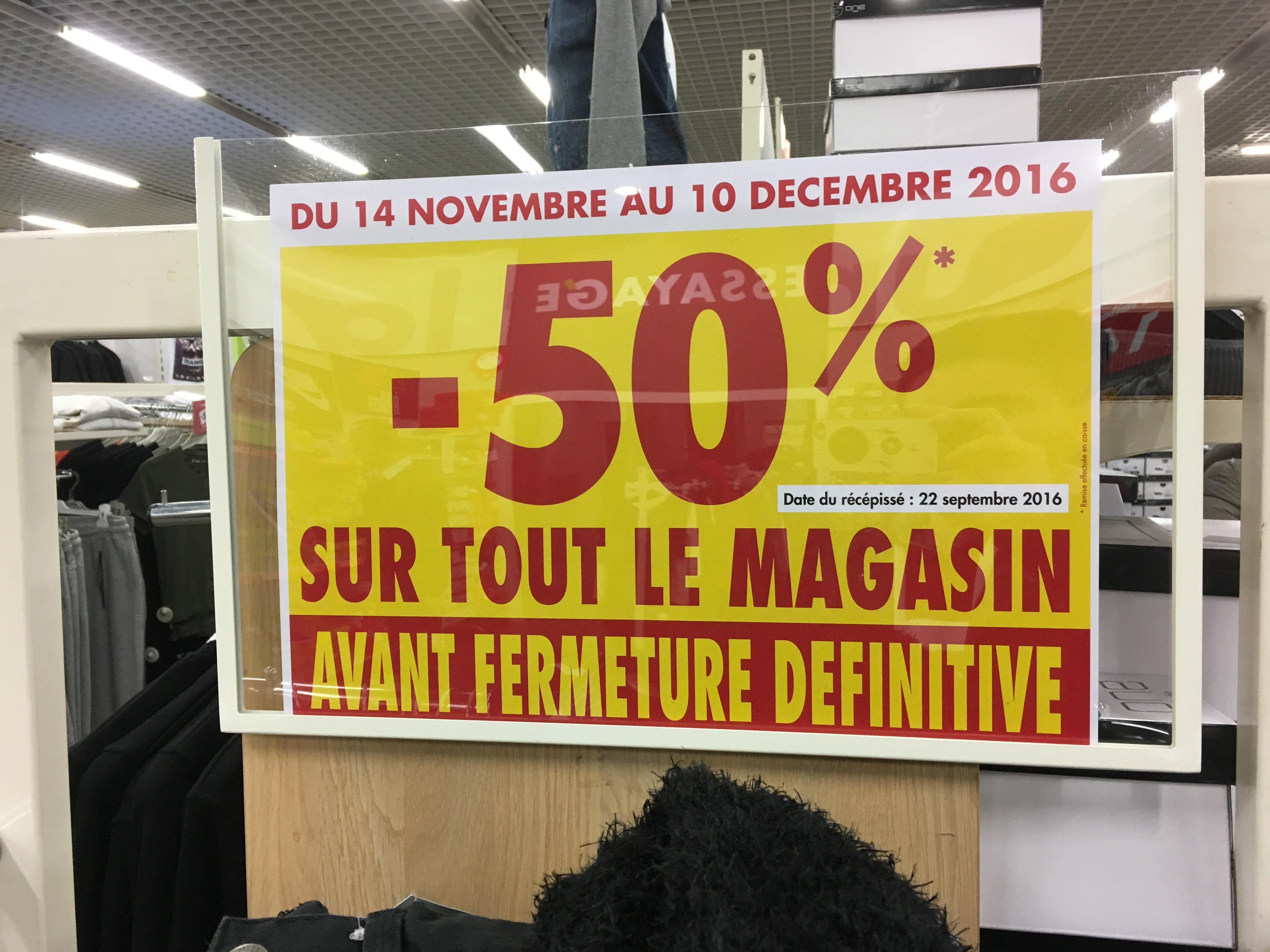 50% de réduction sur tout le magasin