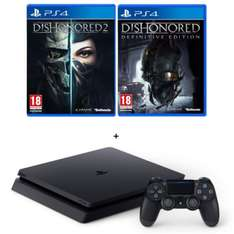 Pack console Sony PS4 Slim (500 Go) + Dishonored: Definitive Edition + Dishonored 2: Limited Edition (dématérialisés)