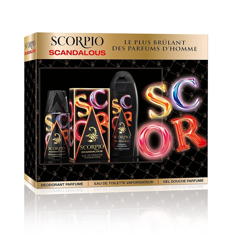 Coffret de cosmétiques Scorpio Scandalous - déodorant (150 ml) + eau de toilette (75 ml) + gel douche (250 ml)