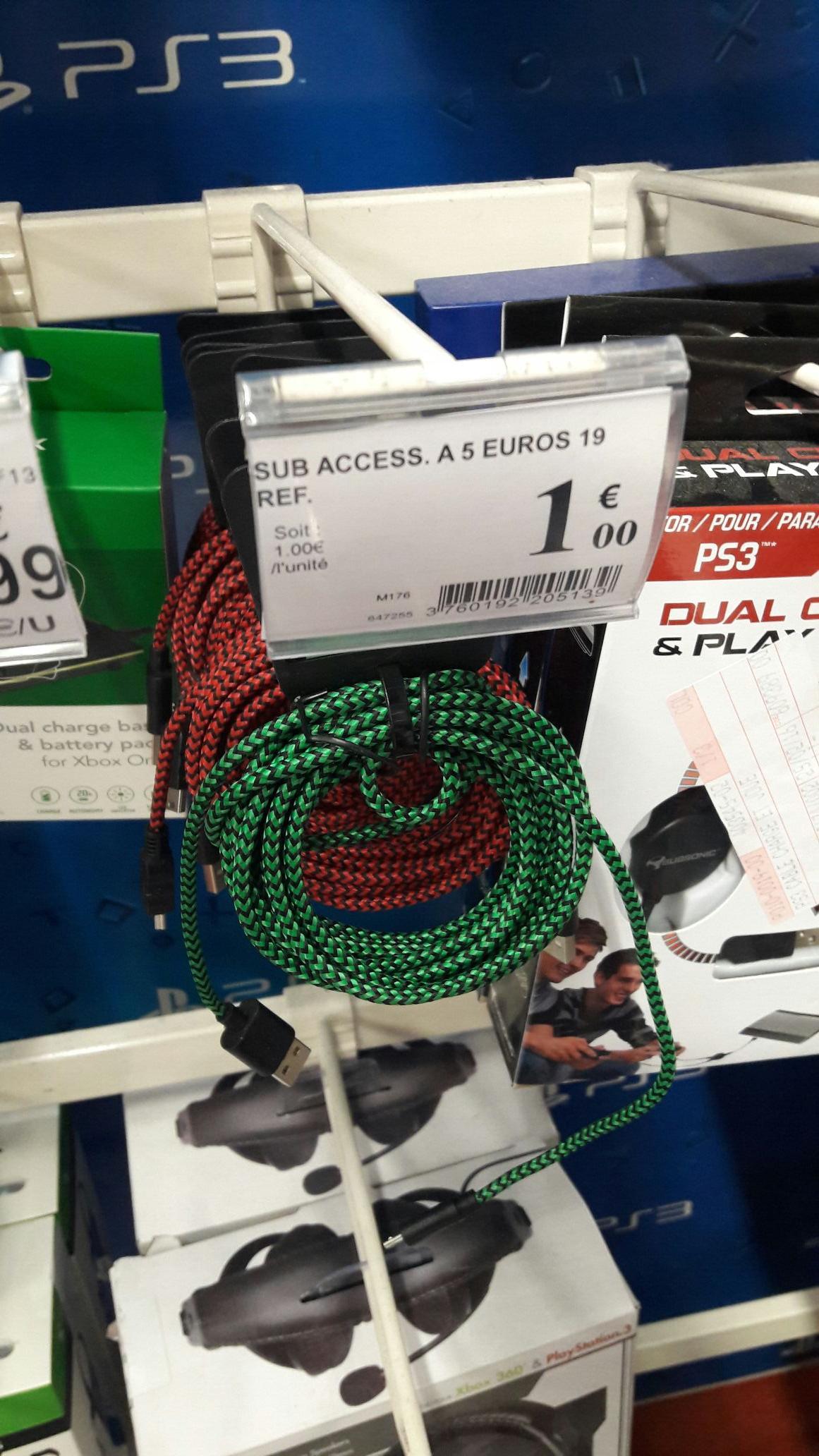 Câble micro-usb 3M en nylon tressé