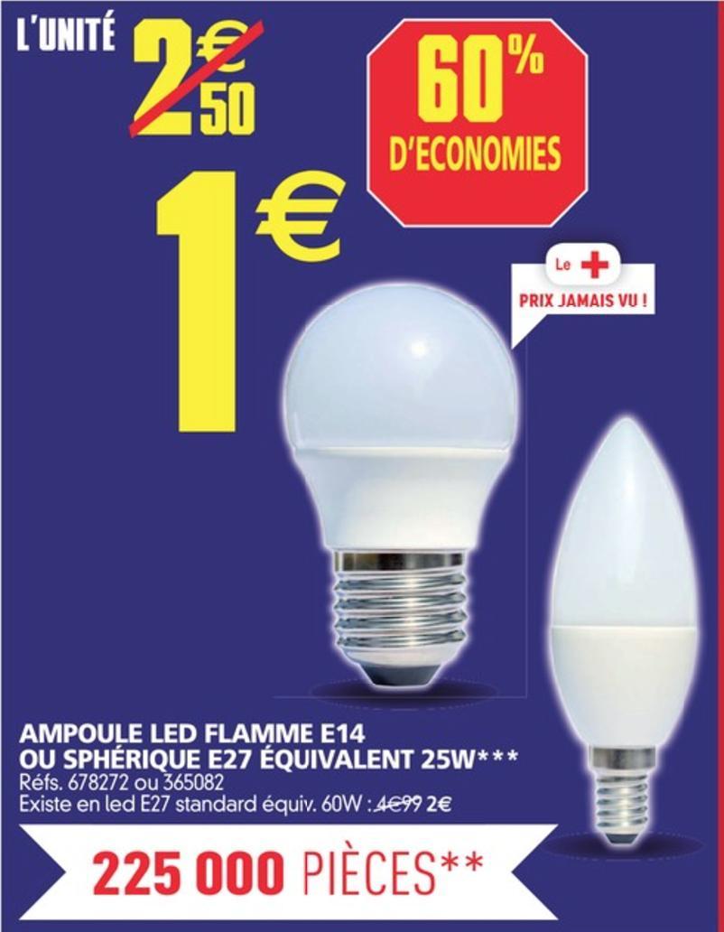 Ampoule LED E14 ou E27 (équivalent 25W)