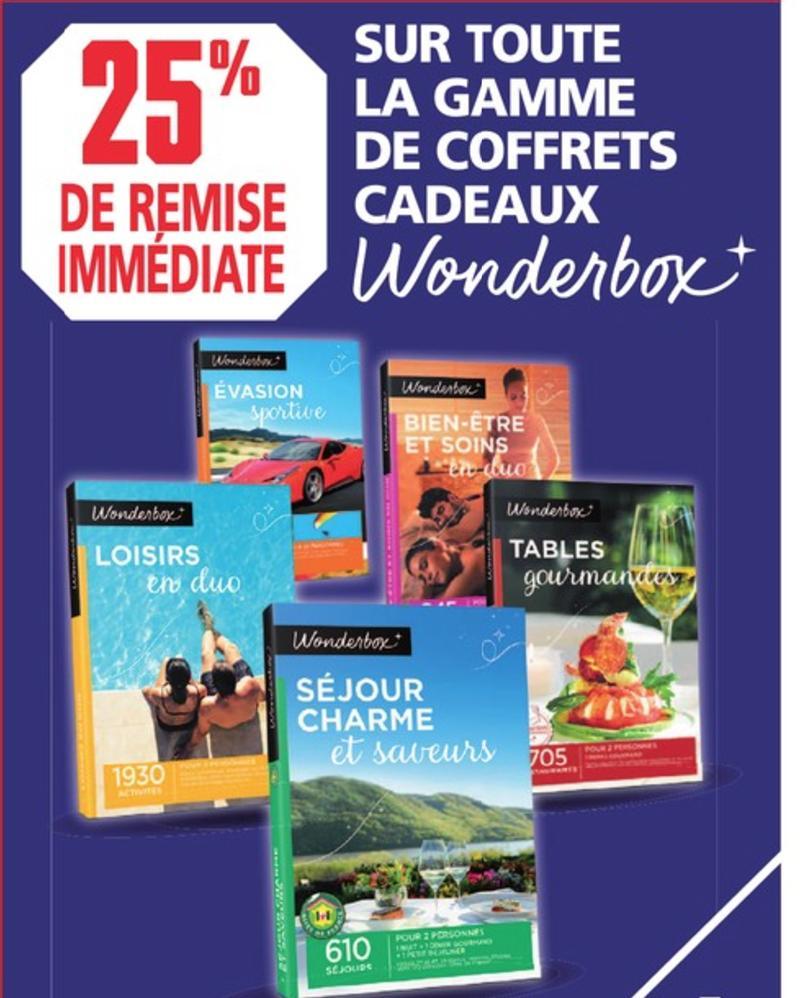 25% de réduction sur toute la gamme de coffrets cadeaux Wonderbox - Ex: Coffret Pilotage et frissons