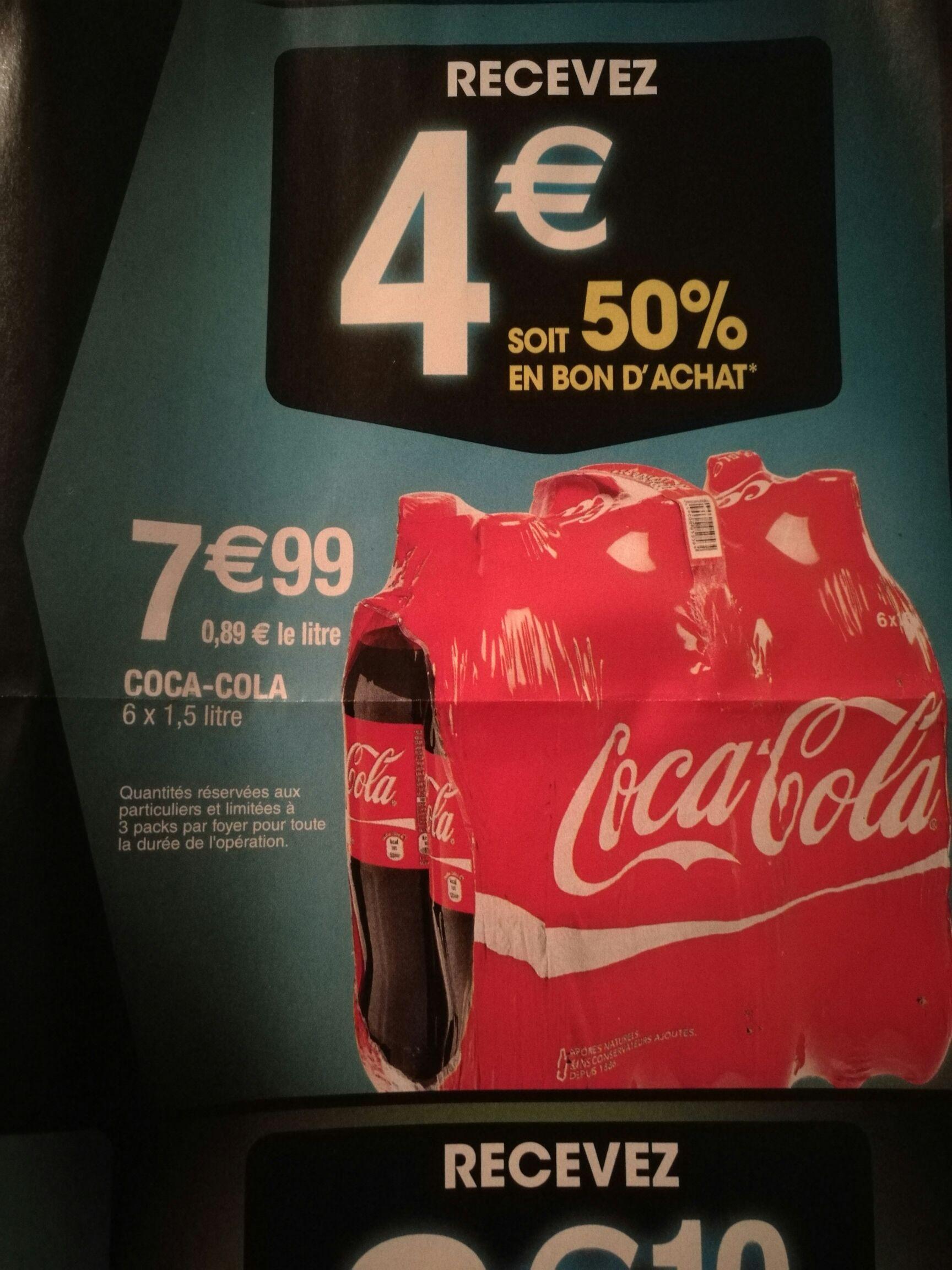 Pack de Coca-Cola - 6 x 1,5L (via 4€ en bon d'achat)