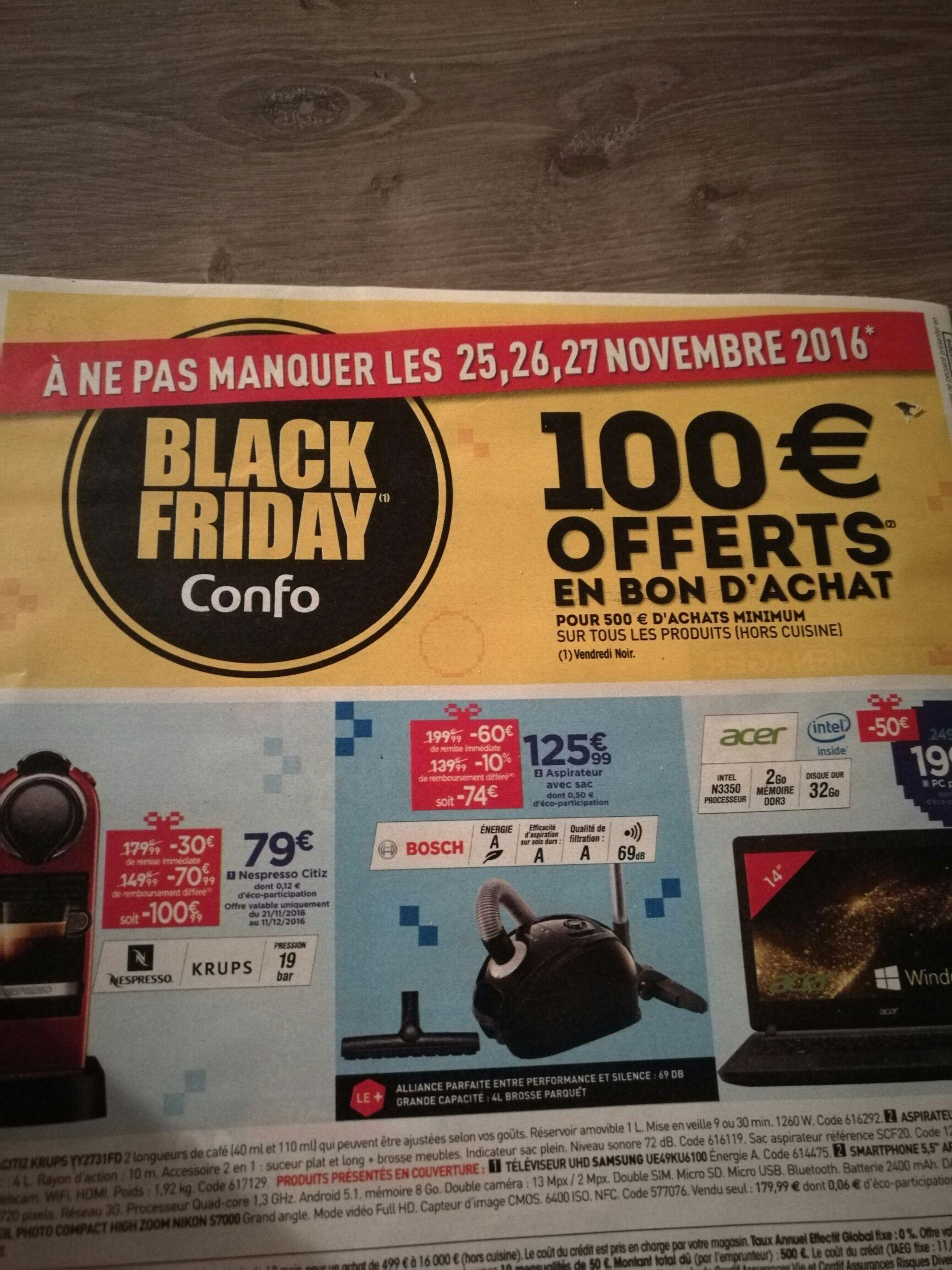 100€ offerts en bon d'achat dès 500€ d'achat