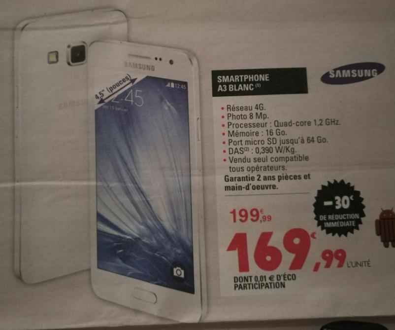 "Smartphone 4.5"" Samsung A3 2015 - 16 Go, Blanc"