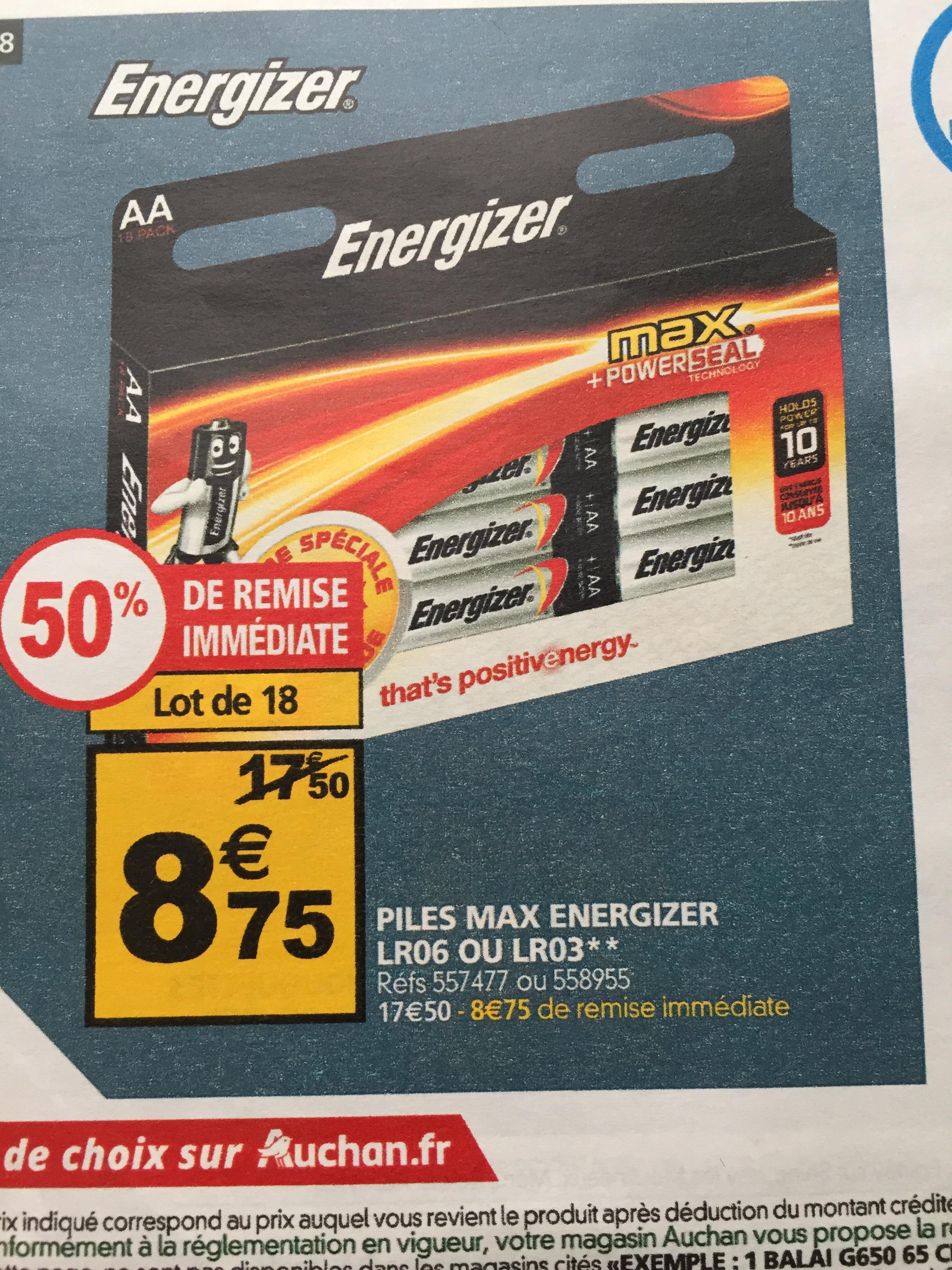 Lot de 18 piles Energizer - AA ou AAA