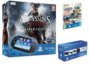 Console Sony PS Vita Wi-Fi + Assassin's Creed Liberation + Cartes mémoire 4 et 8 Go + 10 Jeux + Kit de voyage
