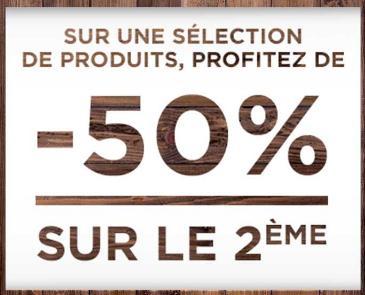 50% de réduction sur le 2ème article parmi une sélection de chemises, gilets et pulls