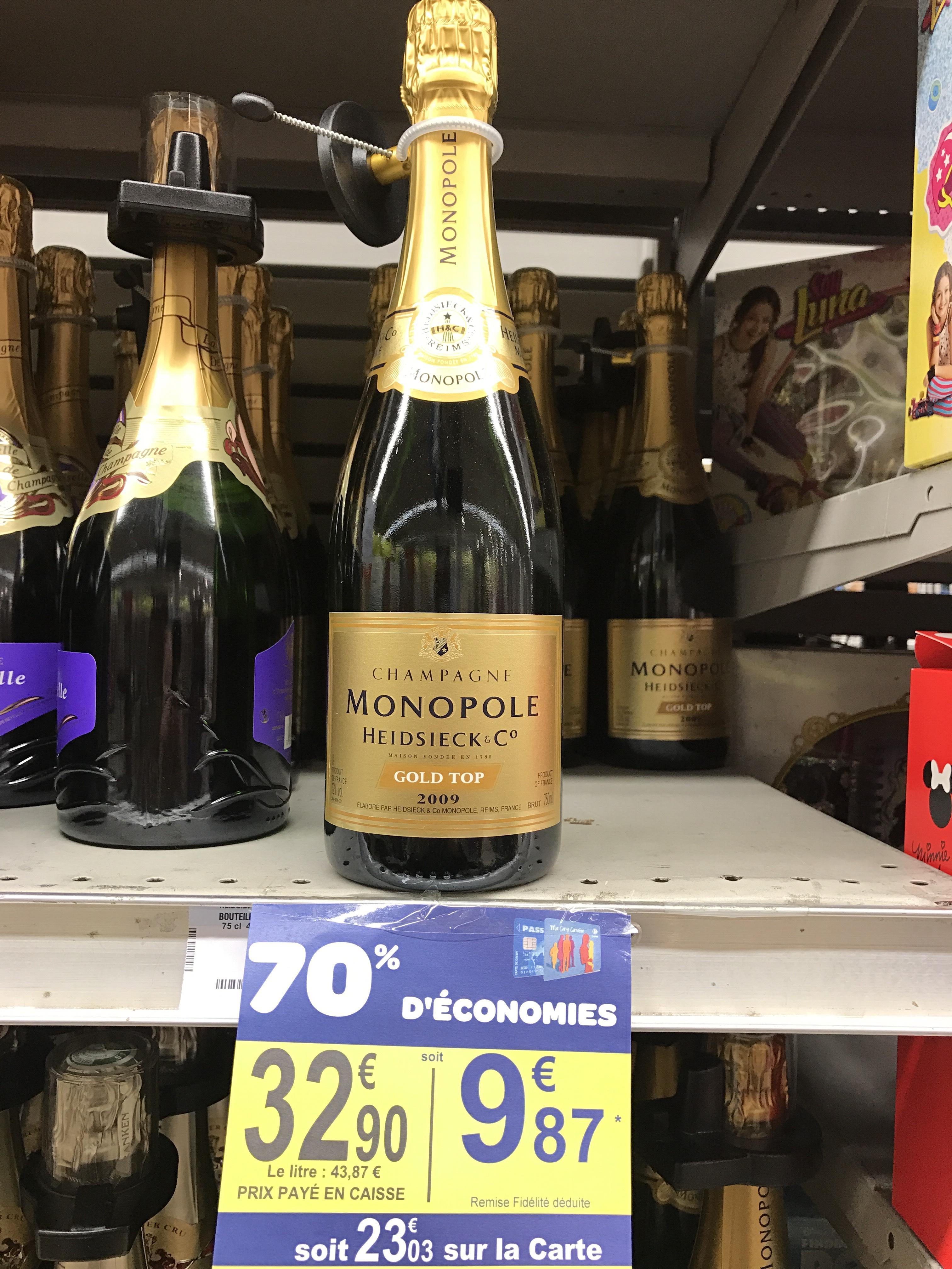 Bouteille de Champagne Monopole Heidsieck Gold Top 2009 (via 23.03€ sur la carte)