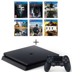 Pack Console PS4 Slim 500 Go + Dishonored 2 + Dishonored Definitive Ed.(DLC) + COD IW + Destiny Collection + Watch Dogs 2 + DOOM