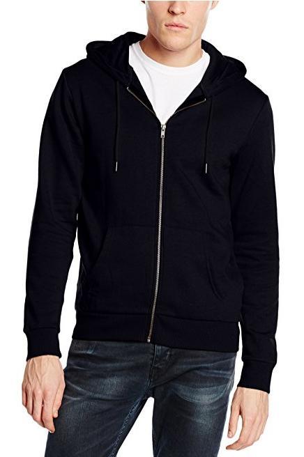 Sweat-Shirt à Capuche New Look Basic Zip Through pour Homme - Noir