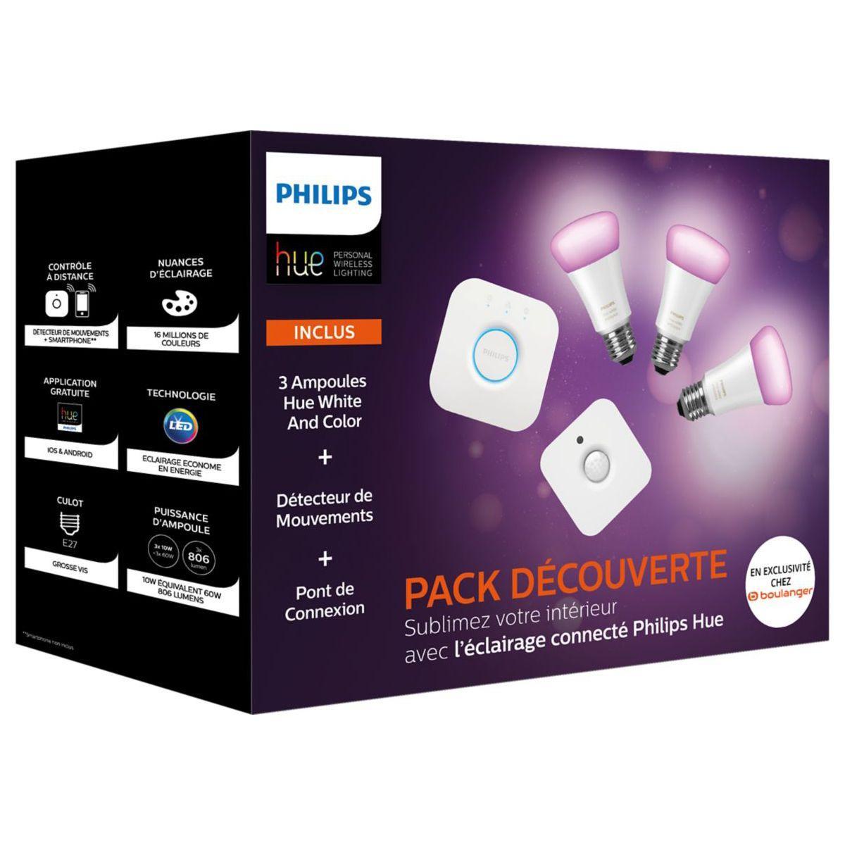 Pack Philips Hue Ampoules Connectées : 3 Ampoules E27 Richer Colors + 1 Pont V2 + 1 Détecteur de mouvement