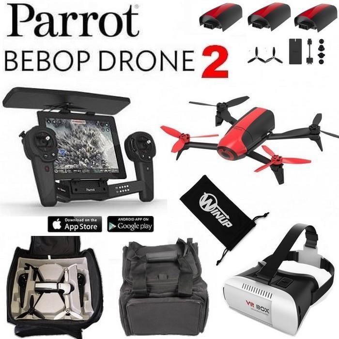 Drone Parrot Bebop 2 Skycontroller Avec 3 batteries + Masque VR + Sac de transport