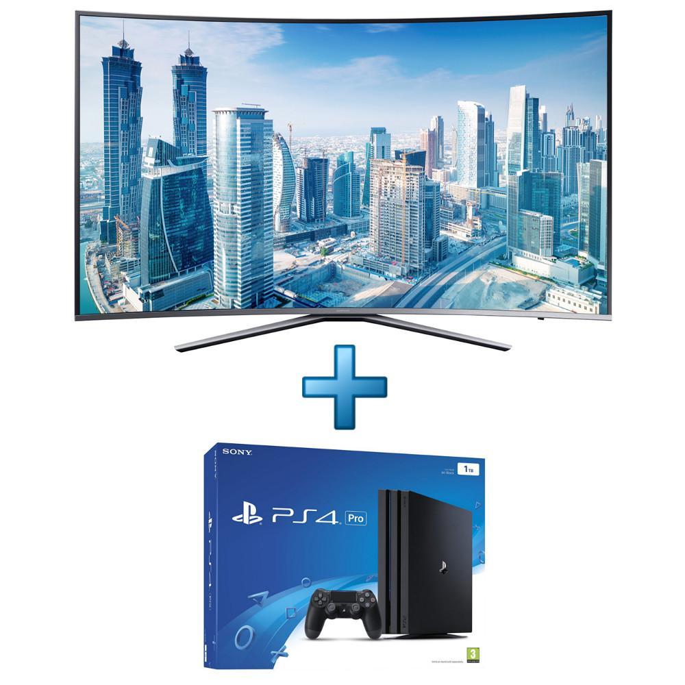 """TV 49"""" Samsung UE49KU6500 Incurvée 4K + Sony PlayStation 4 Pro 1To"""