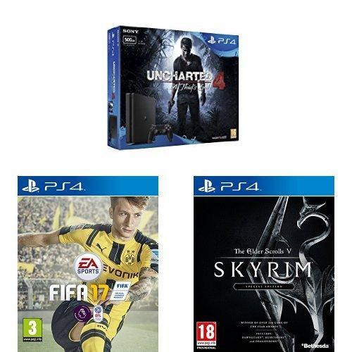 Console PlayStation 4 Slim 500Go + Uncharted 4 + Fifa17 + Elder Scrolls V: Skyrim Special Edition
