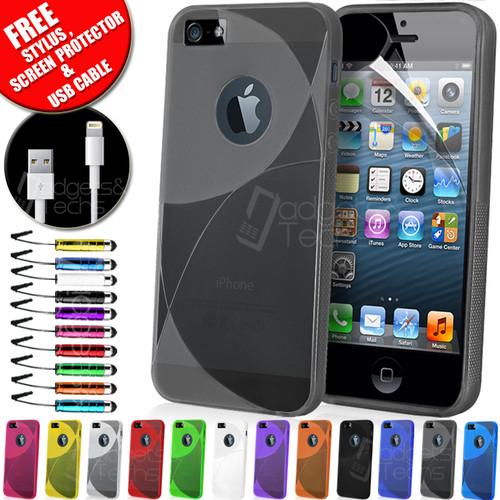 Une housse en silicone/gel (13 couleurs au choix) +  protecteur écran + chiffon +  stylet + câble USB pour iPhone 5 - Frais de port inclus