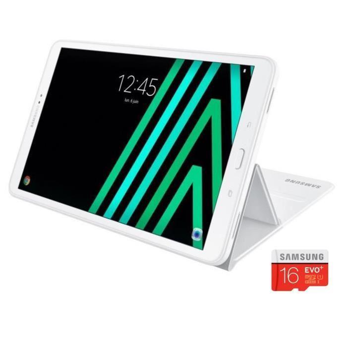 "Tablette tactile 10.1"" Samsung Galaxy Tab A6 (2 Go de RAM, 16 Go, blanc) + protection Samsung + carte microSDHC Samsung Evo Plus 16 Go (via ODR 30€)"