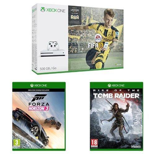 Pack Console Microsoft Xbox One S 500 Go + Rise of the Tomb Raider + FIFA 17 + Forza Horizon 3