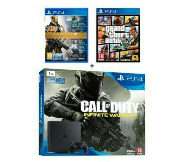 Pack Console PS4 Slim - 1To + Call of Duty Infinite Warfare + Destiny la Collection + Grand Theft Auto V