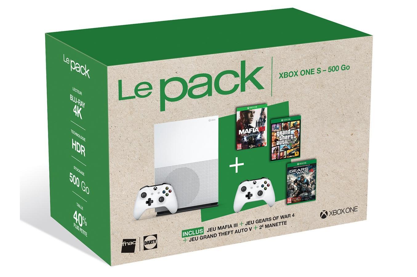 Pack Console Xbox One S 500 Go + Mafia III + GTA V + Gears of War 4 + 2ème Manette
