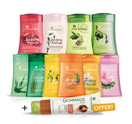 Assortiment de 10 gels douches + gommage végétal + cadeau + FDP offerts