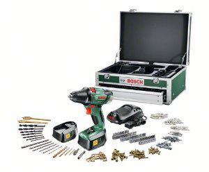 Perceuse Visseuse Sans Fil Bosch PSR 18 LI-2 + Coffret Toolbox 241 accessoires + 2 batteries Lithium-Ion