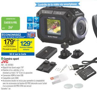 Caméra sport JVC GC-XA1BEU (50€ sur la carte) + accessoires