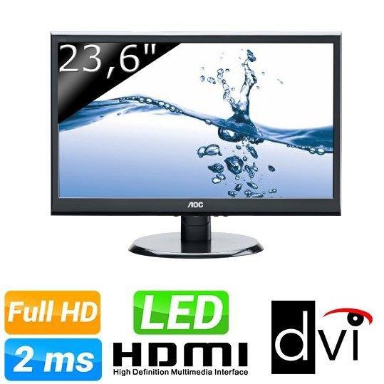 """Moniteur LED AOC e2450swhk de 23,6"""" avec DVI, HDMI et VGA"""