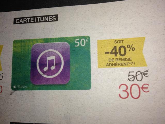 Offre adhérents : 40% de remise sur la carte iTunes, 50€