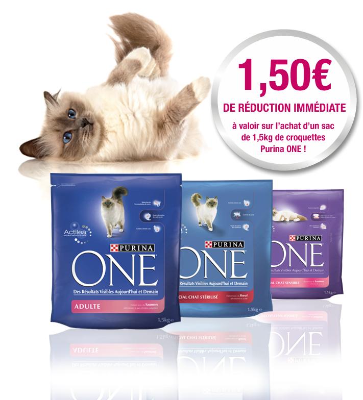 1.50€ de réduction sur l'achat d'un paquet de croquettes pour chat 1,5kgs Purina One