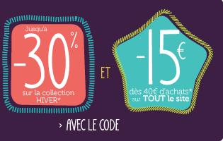 15€ de réduction dés 40€ d'achat