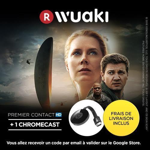 Clé HDMI Google Chromecast 2 + Film Premier Contact ou Passengers en location 48h (HD)