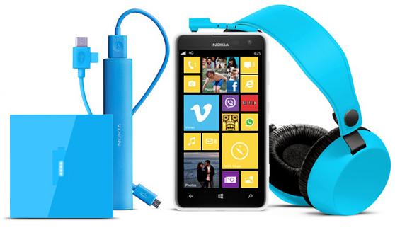 Smartphone Nokia Lumia 625 + Casque Nokia Coloud Boom WH-530 + Chargeur USB