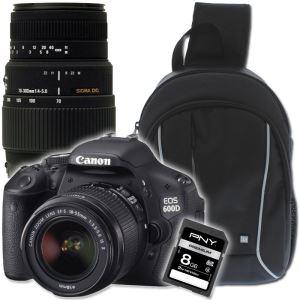 Reflex Canon 600D + Objectifs EF-S 18-55 & Sigma 70-300 + Sac à dos T'nB + Carte SD 8 Go